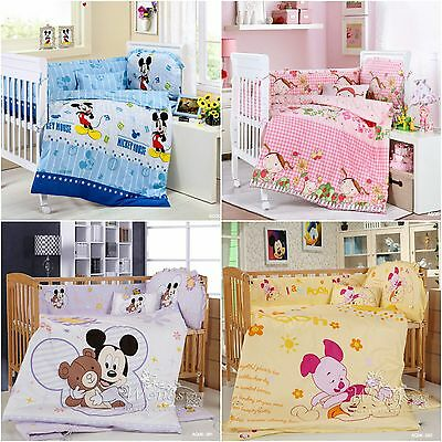 Cartoon Theme Lovely Baby Bedding Set Crib Cot Quilt Sets Cot Bumper 6 Piece New