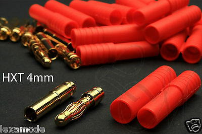 HXT 4mm RC Battery Plug Connector Gold Airplane Helicopter Car Quadcopter UK
