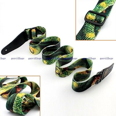 Adjustable Guitar Strap Green Snake Polyester Rock For Electric Acoustic Bass