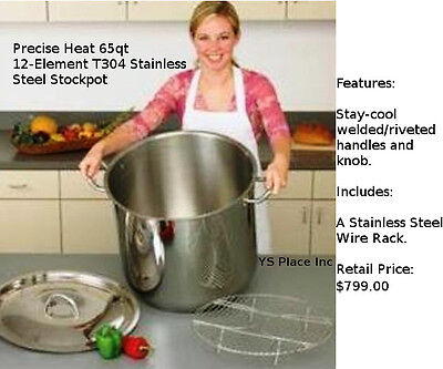 Precise Heat 65qt 12-Element T304 Stainless Steel Stockpot Stay Cool Handles