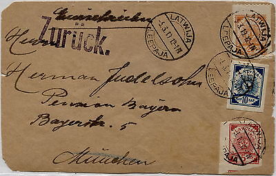 Latvia 1919 Leepaja To Muenchen Germany Zurück Punch Multifranked Old Cover