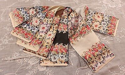 """7 French Antique 1904 Silk Floral Ribbon Samples~15""""LX5""""W~Pillows,Framing"""
