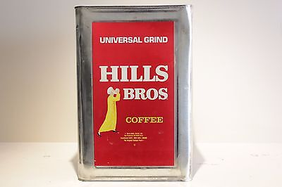 """Rare Vintage HILLS BROS BROTHERS COFFEE CAN Commercial Size 14"""" Tin"""
