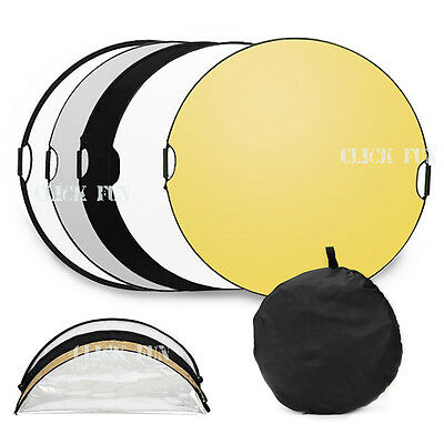 110CM 5 in 1 STUDIO PHOTOGRAPHY PHOTO REFLECTOR & HANDLE GRIP COLLAPSIBLE LIGHT