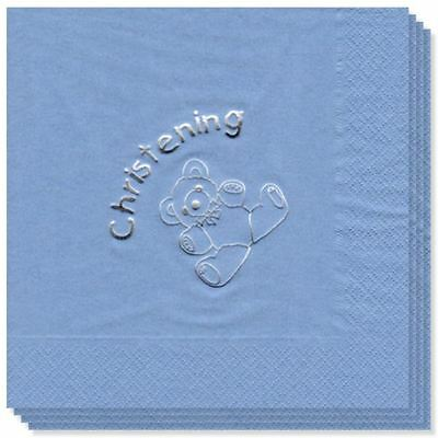 Luxury blue christening napkins tableware decorations
