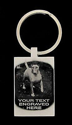 Personalised Photo And Text Engraved Rectangle Keyring With Free Gift Box