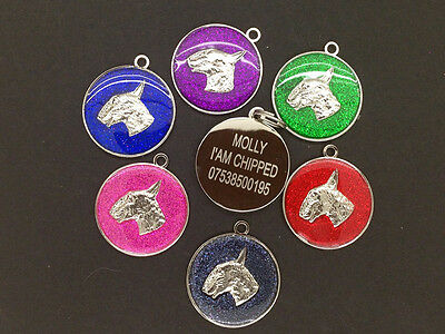 ENGLISH BULL TERRIER Quality 30mm PET TAG Reflective Glitter .ENGRAVED FREE