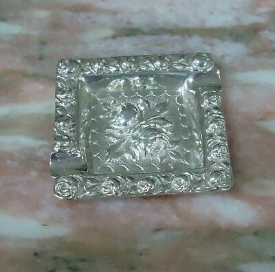 "Antique Sterling Silver Ash Tray Heavy 30.8g - Two Cigarette - 2.25x2.5"" Roses"