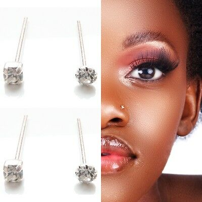 4x Sterling Silver 925 Straight Clear Square & Round Claw Set Crystal Nose Studs