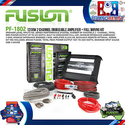 Fusion Performance Pf-1802 1200W 2 Channel Car Audio Amplifier Amp + Full Pro