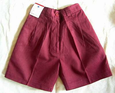 Boys Girls School Uniform Shorts Button Front Maroon Raylex Size 6