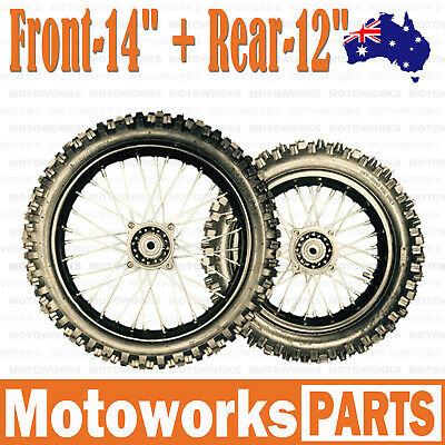 "80/100 - 12"" + 60/100 - 14"" Inch Front Rear Back Wheel PIT PRO Trail Dirt Bike S"