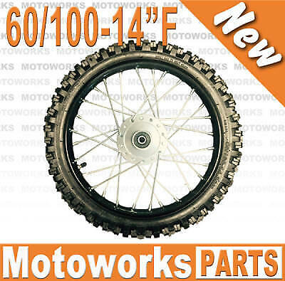 "60/100 - 14"" Inch Tire & Rim Front Wheels 90cc 110cc 125cc Dirt Pit Trail Bike"