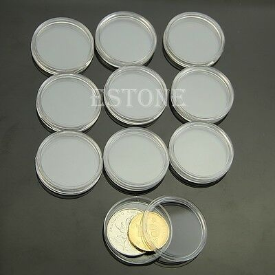 10pcs 26mm Clear Round Cases Coin Storage Capsules Holder Round Plastic New