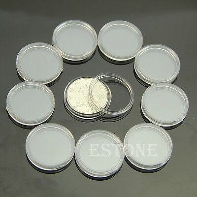 10pcs 25mm Clear Round Cases Coin Storage Capsules Holder Round Plastic New