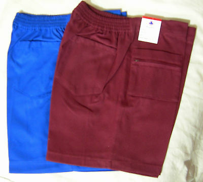 Boys School Uniform Zip Shorts Royal Blue Maroon Raylex Size 12 14 16