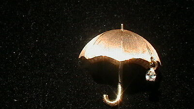 14K Yellow Gold W/ Diamond Umbrella Pin