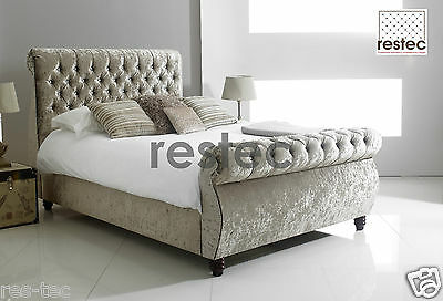 Chesterfield Swan Scroll Fabric Upholstered Bed Frame Crushed Velvet All Sizes