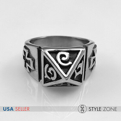 NEW Men's Stainless Steel Gothic Antique Silver Ancient Greek Cone Cross Ring R5