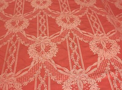 "Antique French Silk c.1900 Pink Rose Woven Damask, Ribbons&Wreaths ~1yd19""LX50""W"