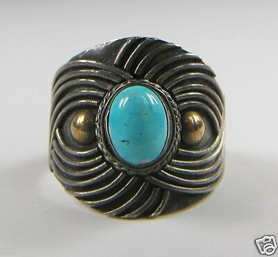 Antique Sterling Silver Ring Robin Egg Blue Turquoise Gilt Deco Swirl Sz8 c1930s