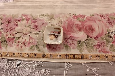 """Antique French Rose Border Print Old Voile Fabric Yard ~3yds14""""L~Women's Sew"""