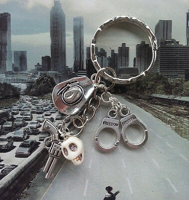 The Walking Dead Inspired Key Ring/Chain-Rick-Gun/Hat/Handcuffs/Zombie Skull