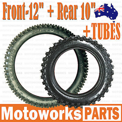 "60/100- 12"" Front+ 80/100- 10"" inch Rear Knobby Tyre Tire Tube PIT PRO Dirt bike"