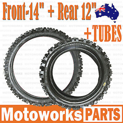 "60/100 - 14"" Front + 80/100 - 12"" inch Rear Tyre Tire + TUBE PIT Trail Dirt bike"