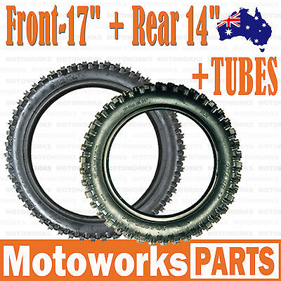 "70/100 - 17"" Front + 90/100 - 14 ""inch Rear Tyre Tire + Tube PIT PRO Dirt bike"