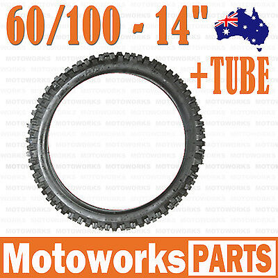 "60/100 - 14"" Inch Front Knobby Tyre Tire + Tube PIT PRO Trail BIGFOOT Dirt Bike"