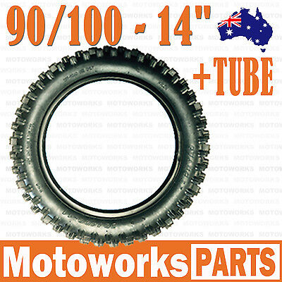 "90/100 - 14"" inch Rear Back Knobby Tyre Tire + Tube PIT Trail Bigfoot Dirt Bike"