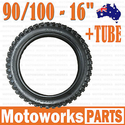 "90/100 - 16"" inch Rear Knobby Tyre Tire + Tube PIT PRO BIGFOOT Trail Dirt Bike"