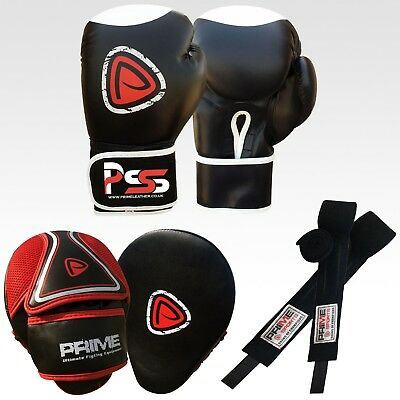 MMA boxing gloves punch bag senior mitts focus pads hand wrap training set S3