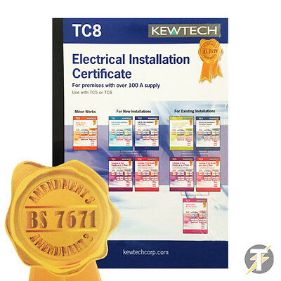 Kewtech TC8 Electrical Installation Certificate for 100A+ Supply - AMENDMENT 3