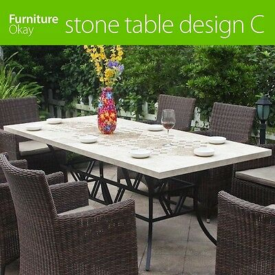 Outdoor Dining Garden Natural Stone Concrete Matte Furniture Table Top Design C