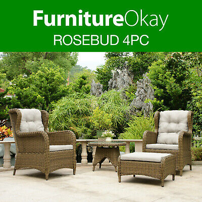 Rosebud 4pc PE Wicker Rattan Outdoor Patio Lounge Garden Couch Furniture Setting