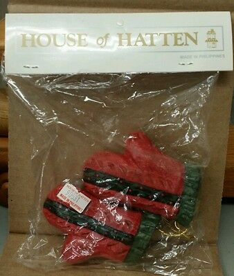House Of Hatten, Christmass Mittens / Gloves Ornament 1995