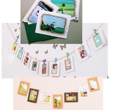 "Hanging Paper Frame  Album Clips Rope Pictures Wall Decor For 7"" Photo Film"