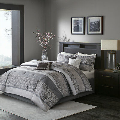 Beautiful 7 Pc Modern Contemporary Chic Grey Silver Black Stripe Comforter Set