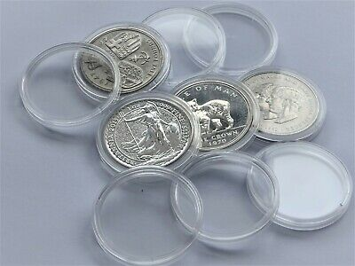 10 x 39 mm -Round Plastic Coin Capsules Holder   ( £5 ,  CROWN   old 25 pence  )