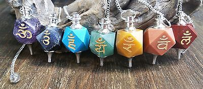 Complete 7 Chakra pendulum lot with engraved Reiki Symbols ~