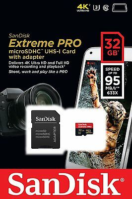 SanDisk 32GB Extreme PRO microSD micro SDHC SD Card 95MB/s Class 10 UHS-1 U3 4K