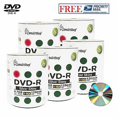 500 Pack Smartbuy Blank DVD-R 16X 4.7GB 120M Shiny Silver Top Recordable Disc