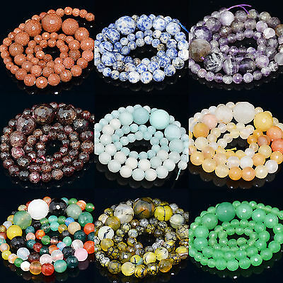 """6mm-14mm Natural Gemstone Crystal Jewelry Faceted Round Beads Necklace 15.5"""""""
