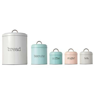 Round Canister - Set of 5 - Tin Tea Coffee Sugar Retro Coloured Canisters
