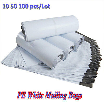 10/50/100PCS White Poly Shipping Mailers Envelopes Mailing Bags