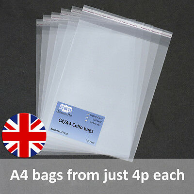 A4 Cello Cellophane Bags with Self Seal strip C4 Crystal Clear Best Quality
