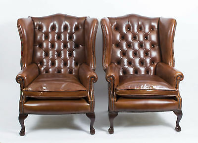 Pair Leather Ball Claw Wing Back Chairs Armchairs Yellow Tan