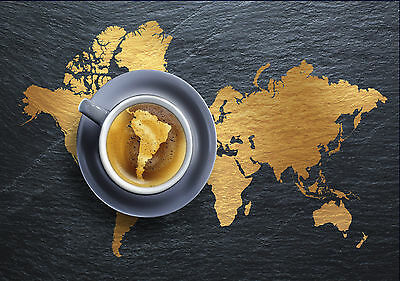 World Map Coffee Giant Poster Art Print - A0 A1 A2 A3 A4 Sizes